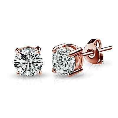 Rose Gold Round 6mm Earrings with Crystals from Swarovski®