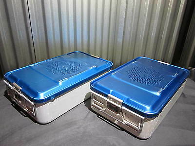 Pair of (2) Aesculap Three-Quarter Size JN741 Containers & JK786 Lids (blue)