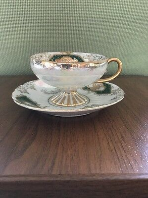 ***antique Royal Sealy China Footed Teacup/saucer Gold/green Japan***