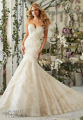 Brand New Mori Lee Embroidered Appliques Bridal Gown Style 2801 free shipping