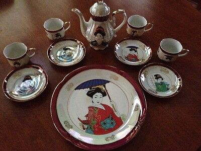 Fresh China, Hand Painted in Japan With Red Trim and Geisha Girl