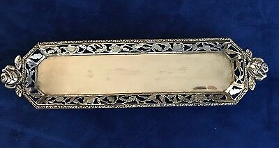 Vintage Sterling Silver Tray Floral Design 12 inches by 3 inches