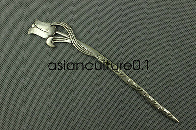 Chinese collection old Tibetan silver Flowers Hairpin LMQ4