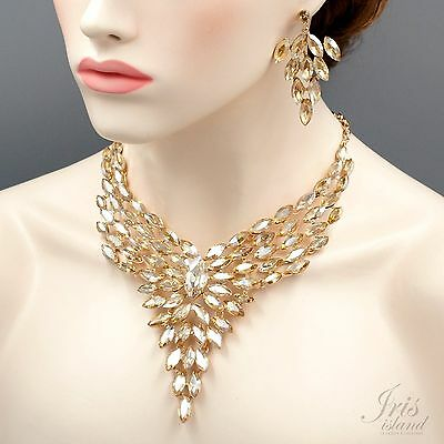 Gorgeous ROSE GOLD Plated Topaz Crystal Necklace Earrings Wedding Jewelry Set 09