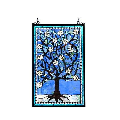 "Handcrafted Tiffany Style Stained Glass Window Panel Tree of Life  20"" W x 32"" T"