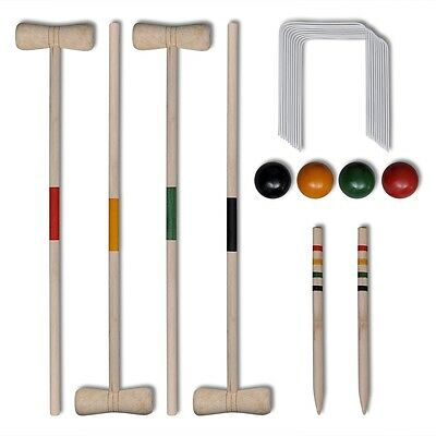 New 4 Player Wooden Croquet Set Aged 3+ Pine Wood Suitable for 4 Players