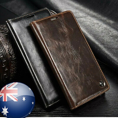 Black Brown Genuine Leather Wallet Card Case Cover Stand For Samsung Galaxy S5
