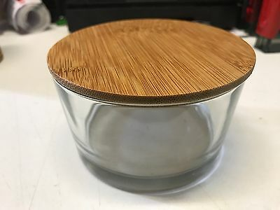 Glass Candle Jar With Bamboo Lid - Qty 6 - 6.5Cm Tall X 11Cm Dia - Free Ship
