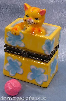 Cat #42 Cat In A Flower Bag Porcelain Trinket Box Hand Painted