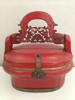 Antique Chinese Wedding Basket Red Paint Brass Hardware NR