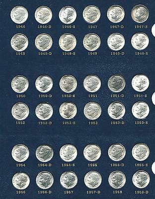 1946-1981 Roosevelt Dime Set 93 Coins Circ-Unc W/bu Silver & Proof Sharp Album!