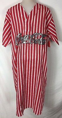 Vintage Coca Cola Soda Night Shirt Red White Striped Large Usa Gown Rare Novelty