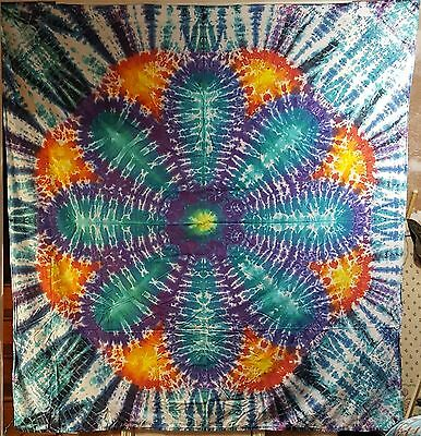 Hand Dyed Tie Dye Tapestry Flower Power (85 in. x 82 in.)