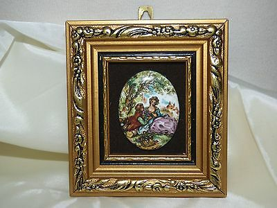 Miniature Hand-Made Enamel on Copper P.G.COLLINS FRAGONARD Courting Couple