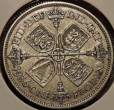 British Florin - 1936 - Big Silver Coin - $1 Unlimited Shipping