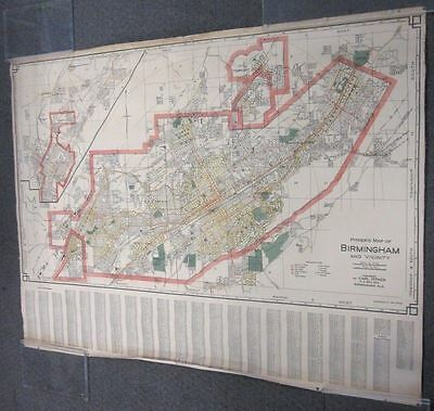 Undated C. Early 1900's Linen-Backed Map of Birmingham Alabama Pitner Nice