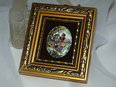 Miniature Hand-Made Enamel on Copper P.G.COLLINS  Poreclain Plaque Swing Signed