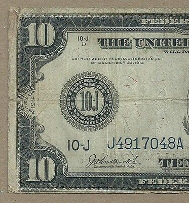 1914 $10 Federal Reserve Note     Cheap And Affordable