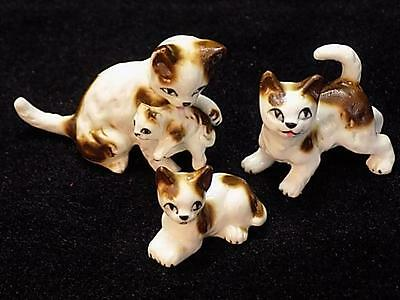 Lot of (3) Vintage Hand-Painted Porcelain Cat Kitten Figurines - Made in Japan