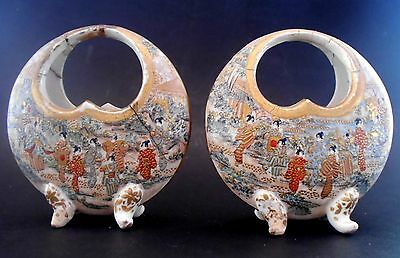 Antique Pair of Vases Satsuma Very Rare Pieces Hand Painted Japan