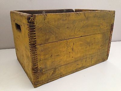 Vintage Antique Wooden Box Crate Yellow Paint Rustic Cabin Farm Barn Box