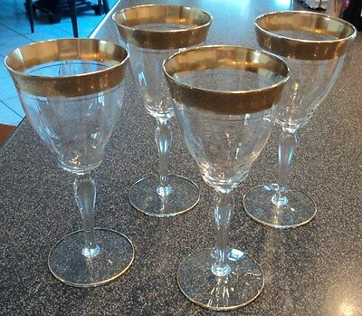 Vintage  Tiffin  Crystal  Wine / Water  Glasses Stemware 4 p
