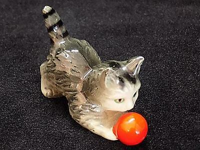 "Vintage Hand-Painted 3"" Porcelain Cat with Ball Figurine - Made in West Germany"