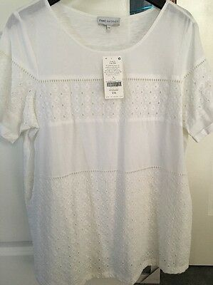 White Embroidered Maternity Shirt Size 14