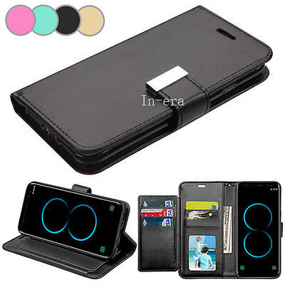 Strap Leather Flip Wallet Protective Case Cover For Samsung Galaxy S8 / S8 Plus