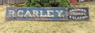 Antique 1890s  J. CARLEY Graining Coloring Glazing ME Hardware Store Smaltz Sign