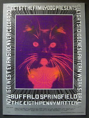 "Original 1967 FD-D5 ""KITTY"" POSTER~2nd Print~BUFFALO SPRINGFIELD~Fillmore Era"