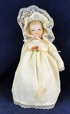 """Vintage 7-1/2"""" Baby Doll With Bisque Head and Limbs o6"""