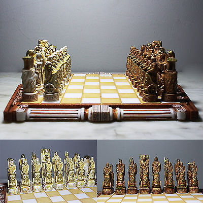 Chess Set Greek Roman Mythology Gods Handmade Board & Figurine Pieces Alabaster