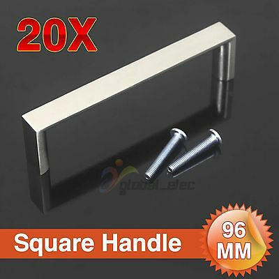 20X 96Mm Kitchen Cabinet Bathroom Cupboard Door Handle Square Stainless Steel Au