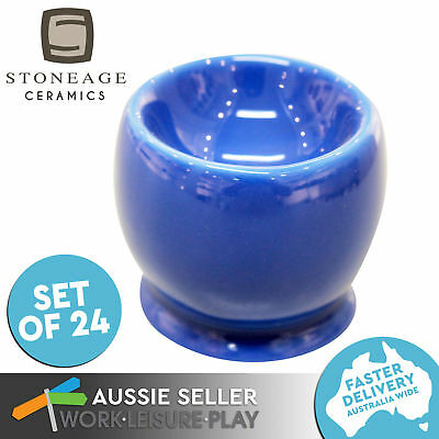 24x Blue Egg Cup Holder Cafe Tableware Stand Ceramic Catering Gift Set Stoneage