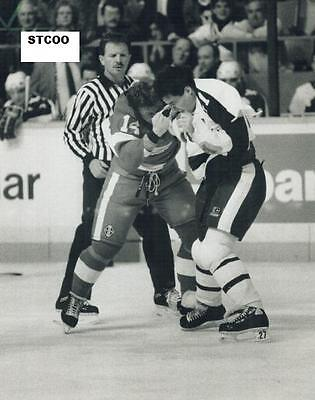 John Kordic Dominates Torrie Robertson - Maple Leafs/Red Wings 8X10 Fight Photo
