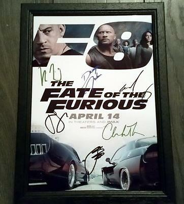 "Fate Of The Furious Pp Signed Framed A4 12X8"" Photo Poster Fast And N Cars Rock"