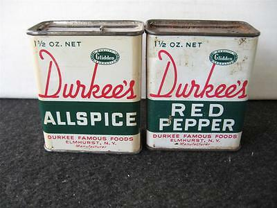 Lot of 2 vintage Durkee's  spice tins Red Pepper and Allspice