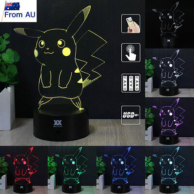 Pokemon GO Pocket Monster Pikachu 3D LED Night Light 7Color TouchDesk Table Lamp