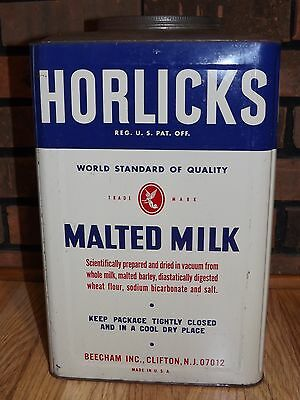 Old Vintage Horlicks 25 Pound Malted Milk Tin Container Large Rare Fountain Can