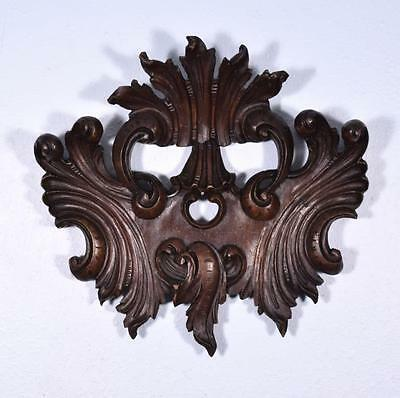 """*16"""" French Louis XV Deeply Carved Antique Pediment/Crest in Walnut Wood"""