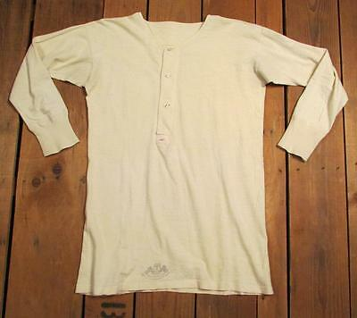 Vintage Antique Mens Cotton Henley Work Shirt Ivory Knit M early 1900s Germany
