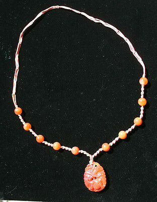 Antique Estate Chinese Carved Carnelian Agate Pendant And Bead Necklace