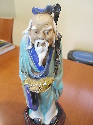 ANTIQUE CHINESE PORCELAIN TURQUOISE IMMORTAL FIGURE - Old Man with fish statue