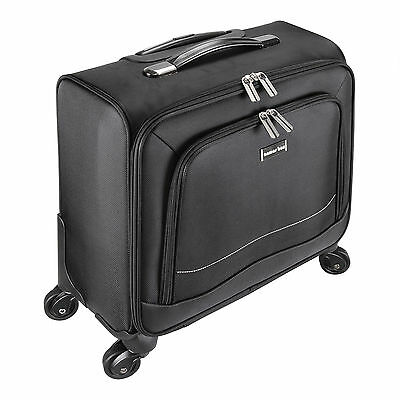 """16"""" Laptop Computer Trolley Business Luggage Case Bag with 4 Wheels - Black"""