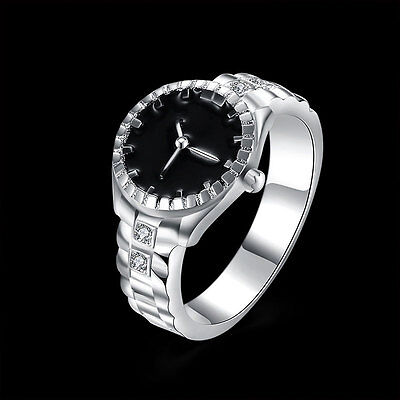 Fashion Creative Women Quartz Silver Finger Ring Watch Alloy Personality HOT