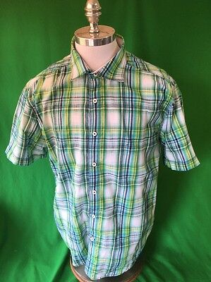 Malibu Cowboy Plaid Button Front Casual Shirt Short Sleeve Men's XL