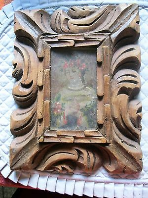 Original Antique Retablo On Tin With Our Lady Of Peace With Antique Wood Frame