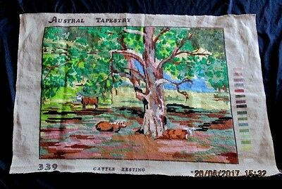 AUSTRAL TAPESTRY *CATTLE RESTING* NO: 339 MADE IN AUSTRALIA - Worked Approx. 85%