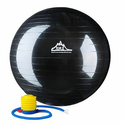 Black Mountain Products Anti Burst Exercise Stability Ball with Pump Black 20...